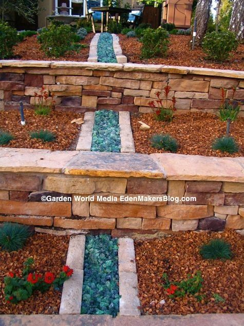 Peach Pit And Glass Mulch In Garden Bed Landscaping Ideas