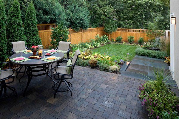Small Backyard Landscaping Ideas With Small Patio And Dining Table