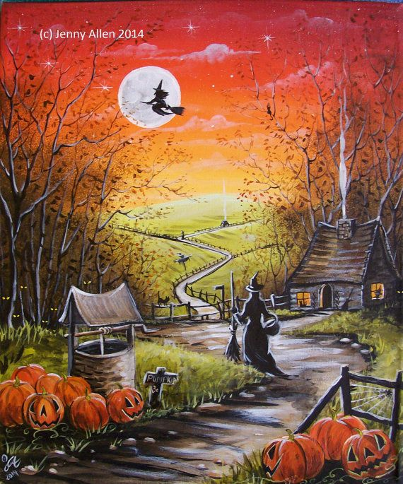 I39M IN LOVE!!! OOAK Original Halloween Painting Acrylic on