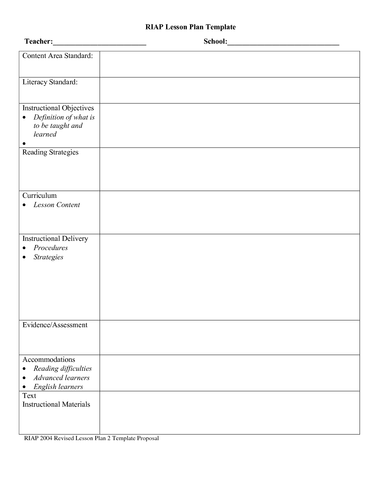 Free Lesson Plan Templates For Middle School