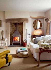 country cottage living room slipcovered sofa | Living ...