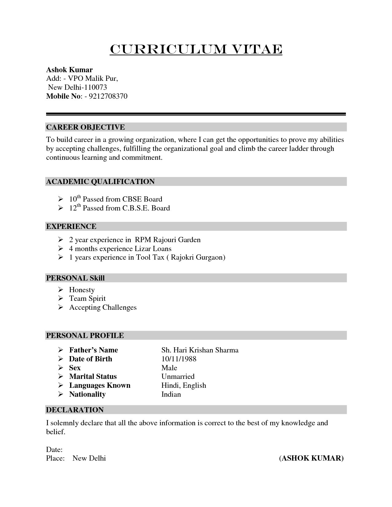 Simple Curriculum Vitae Examples Cerescoffee Co