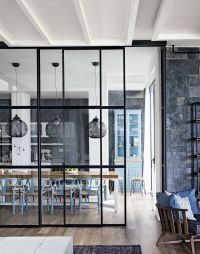 Gorgeous floor to ceiling glass divider between kitchen ...