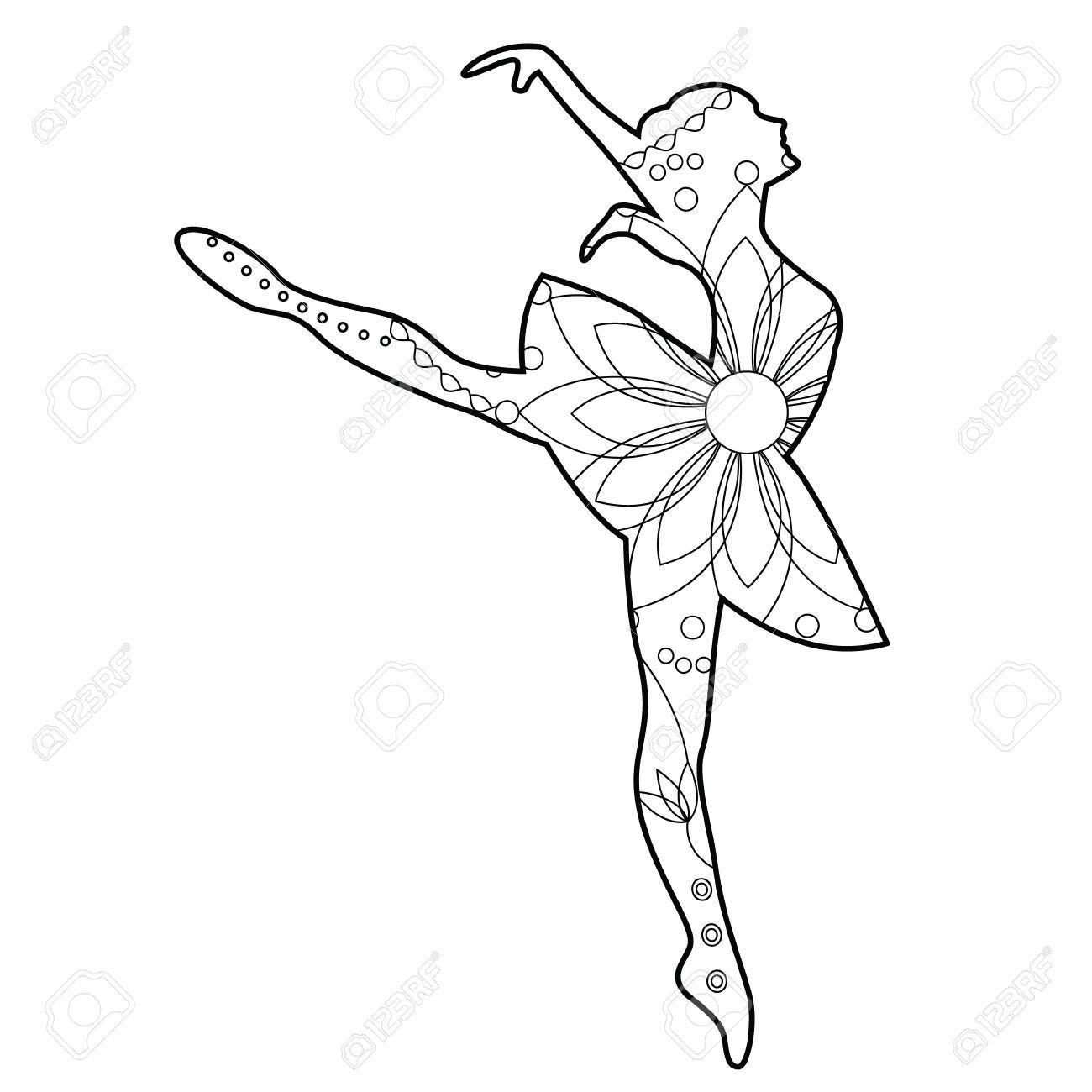 Vector Bailarina De Ballet Para Colorear Ilustraciones