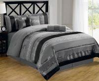 7-piece Contemporary Metallic Silver Gray Black Chenille ...
