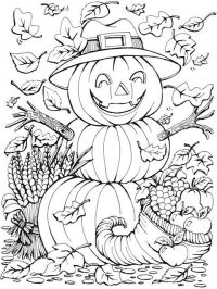 Autumn scenes pumpkins coloring pages for adult | Coloring ...
