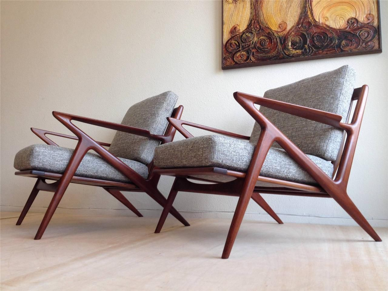 z chair mid century sofa and company pair of danish modern teak lounge chairs poul