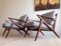 Pair of danish mid century modern teak lounge chairs poul ...