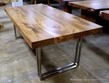 """Reclaimed Wood Dining With Wrought Iron """"clasp"""" Base"""