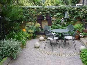 Garden Walls On Small Courtyard Garden With Vines Growing On Walls