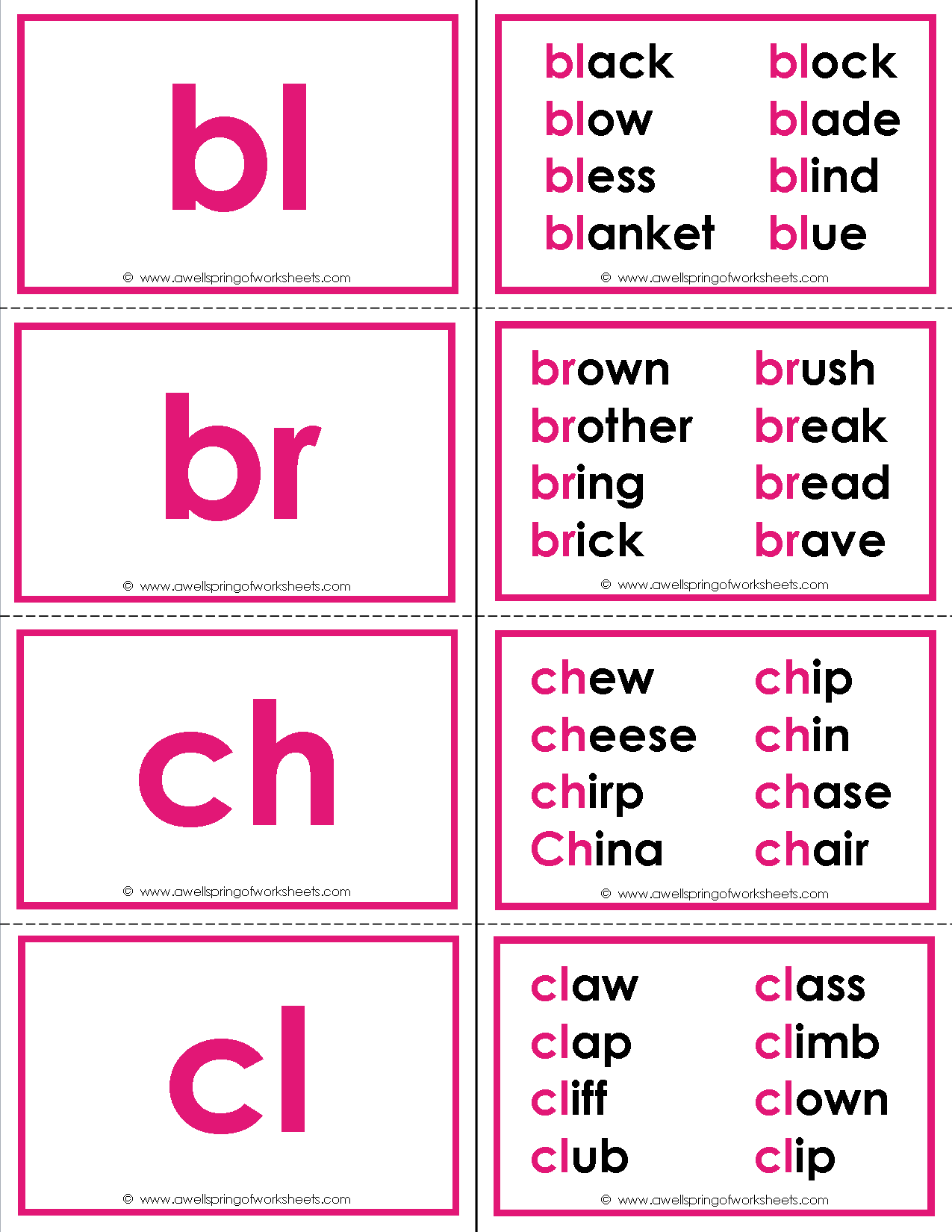 Beginning Consonant Blends Flash Cards