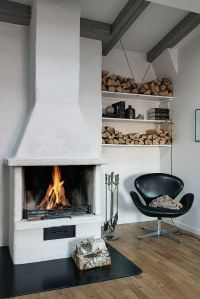 Arne Jacobsen leather swan chair + fireplace | interior ...