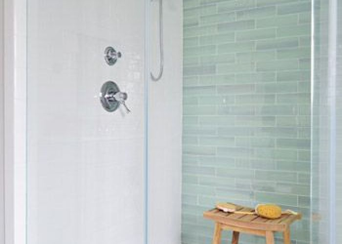 Find this pin and more on bath love that glass tile also accent the back wall green subway  way nz