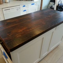 Wood Kitchen Counters L Shaped Island Reclaimed Countertop Dark Walnut I Want To Use My