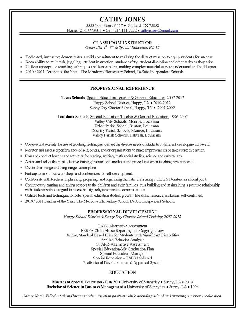 Special Education Teacher Resume Topresume Info Special