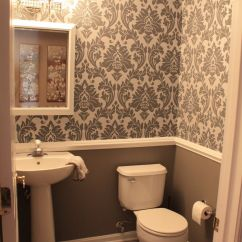 Pictures Of Chair Rails In Bathrooms Cover Ikea Slipcovers Small Downstairs Bathroom Like The Wallpaper And