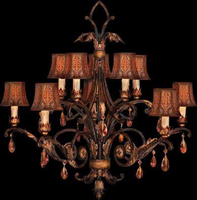 Fine Art Lamps Brighton Pavilion Chandelier 303940 H 36 X W 39 Luxurious Amber Crystal