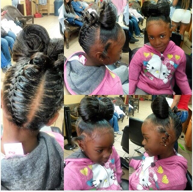 Cute Little Black Girl Bow And Braid Ponytail Updo Natural Hair