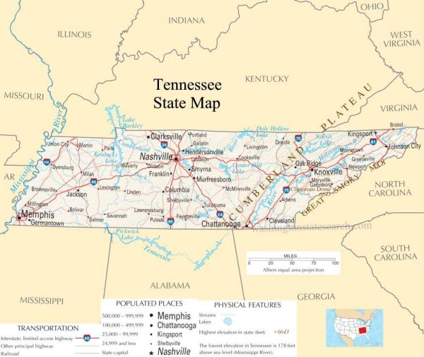 Tennesse  our tennessee state county map a large detailed map of tennessee state