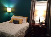 Dark teal, grey, and yellow bedroom | Bedroom Ideas ...