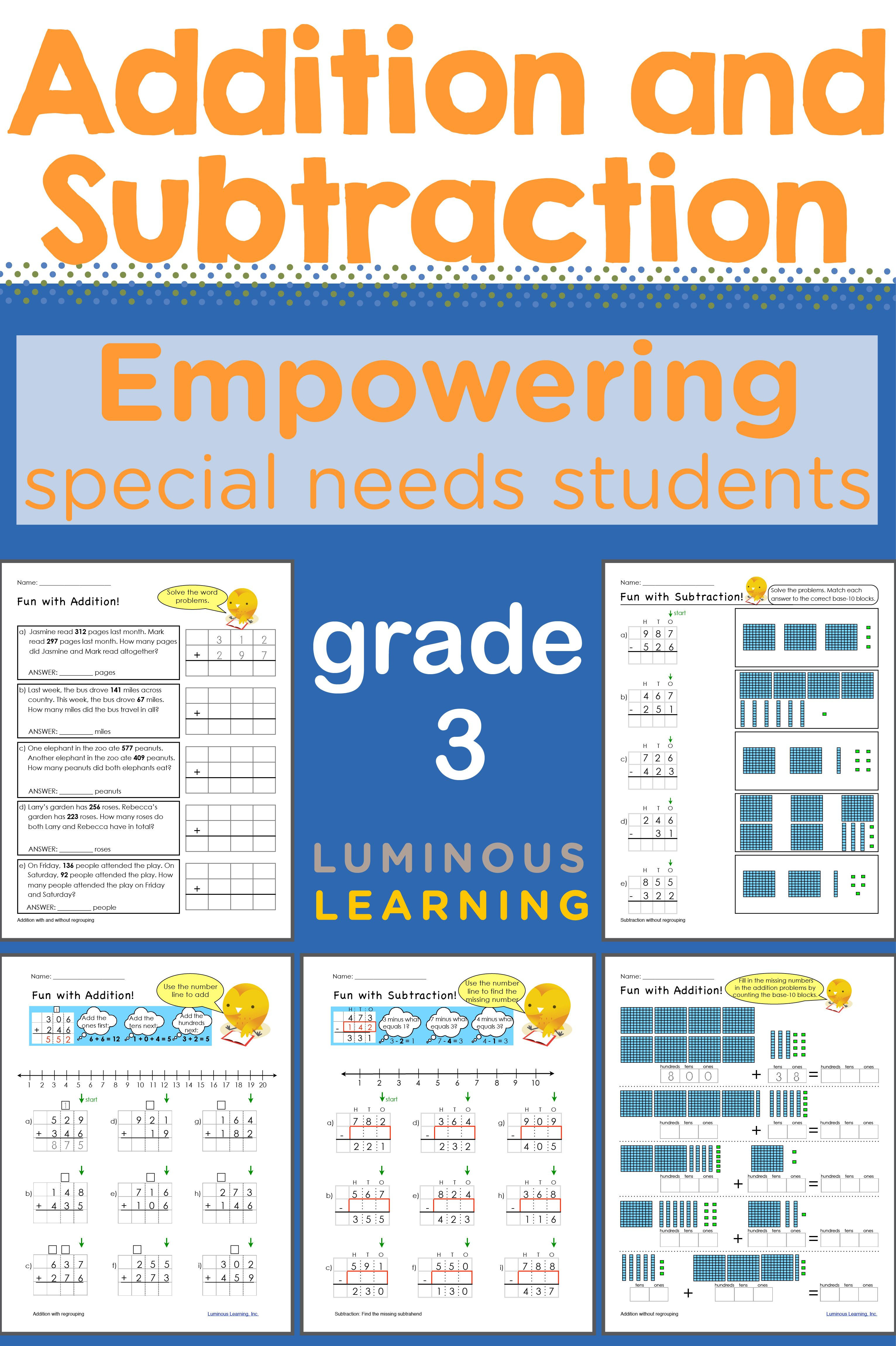 Grade 3 Addition And Subtraction Workbook Making Math Visual