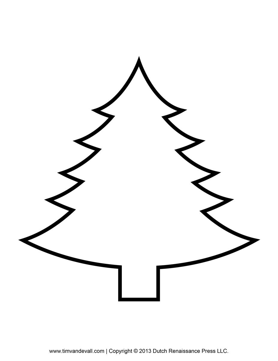 Printable Paper Christmas Tree Template Clip Art Coloring