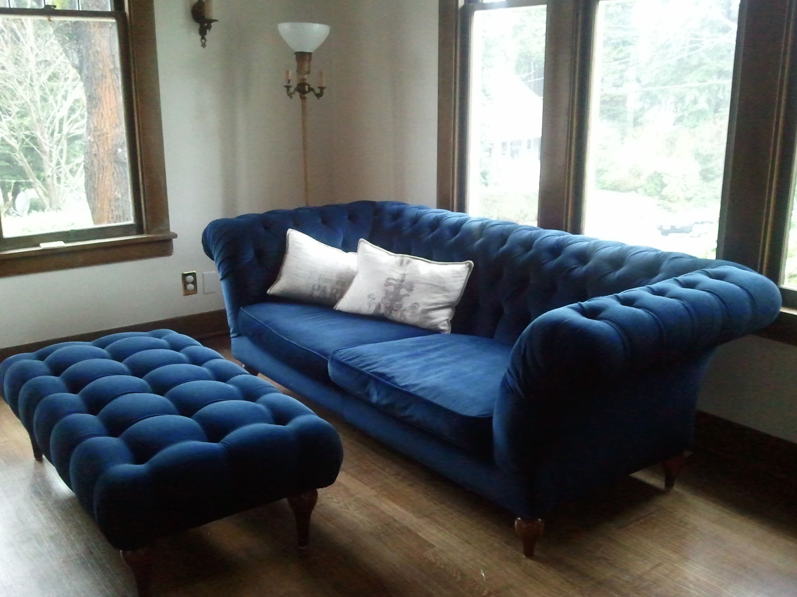 navy blue velvet sofa canada leather cleaners edinburgh tufted ottoman it is gorgeous midnight