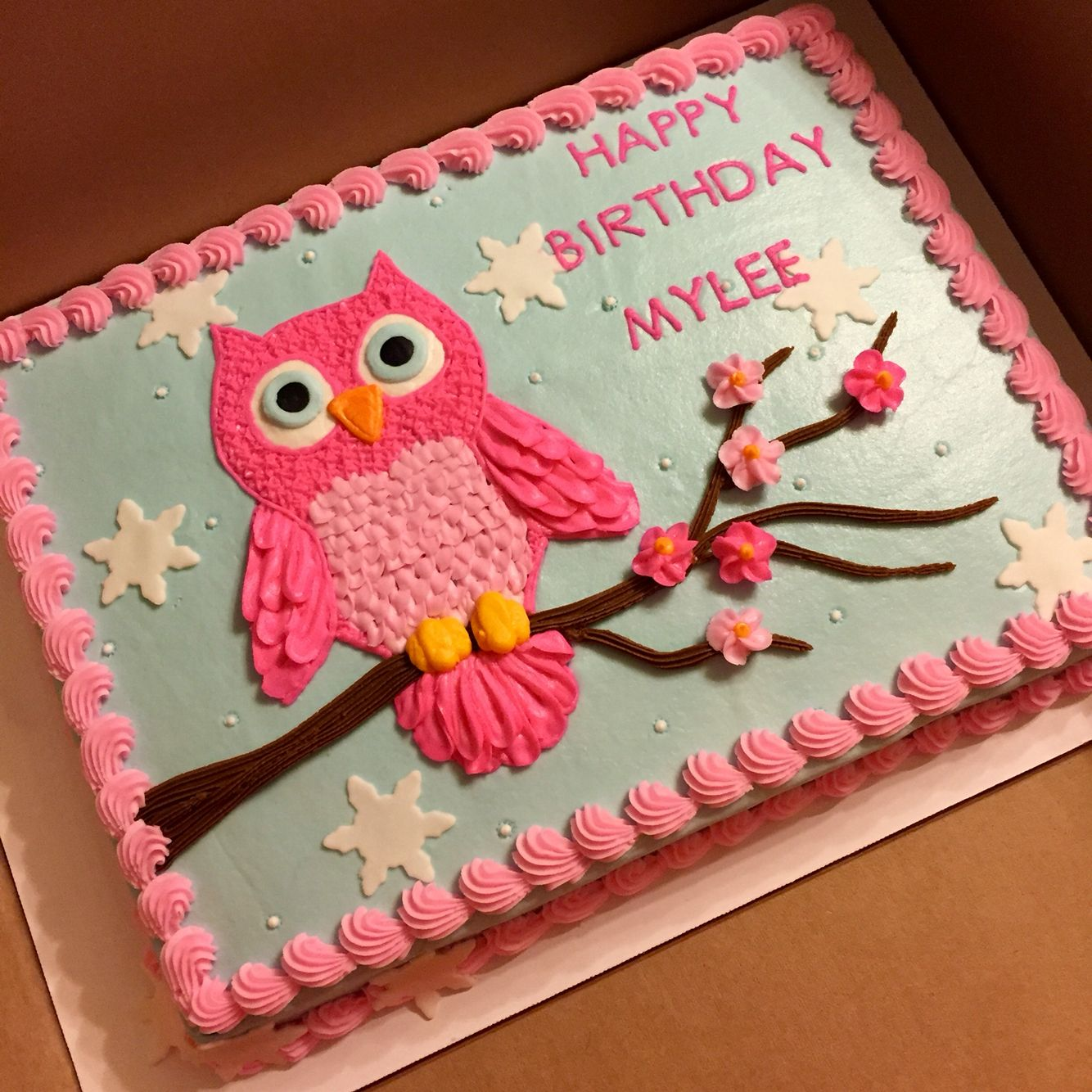 Owl Cake Done With Buttercream Decorations