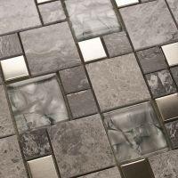 Metal mosaic tile mirror kitchen backsplash metal crystal ...