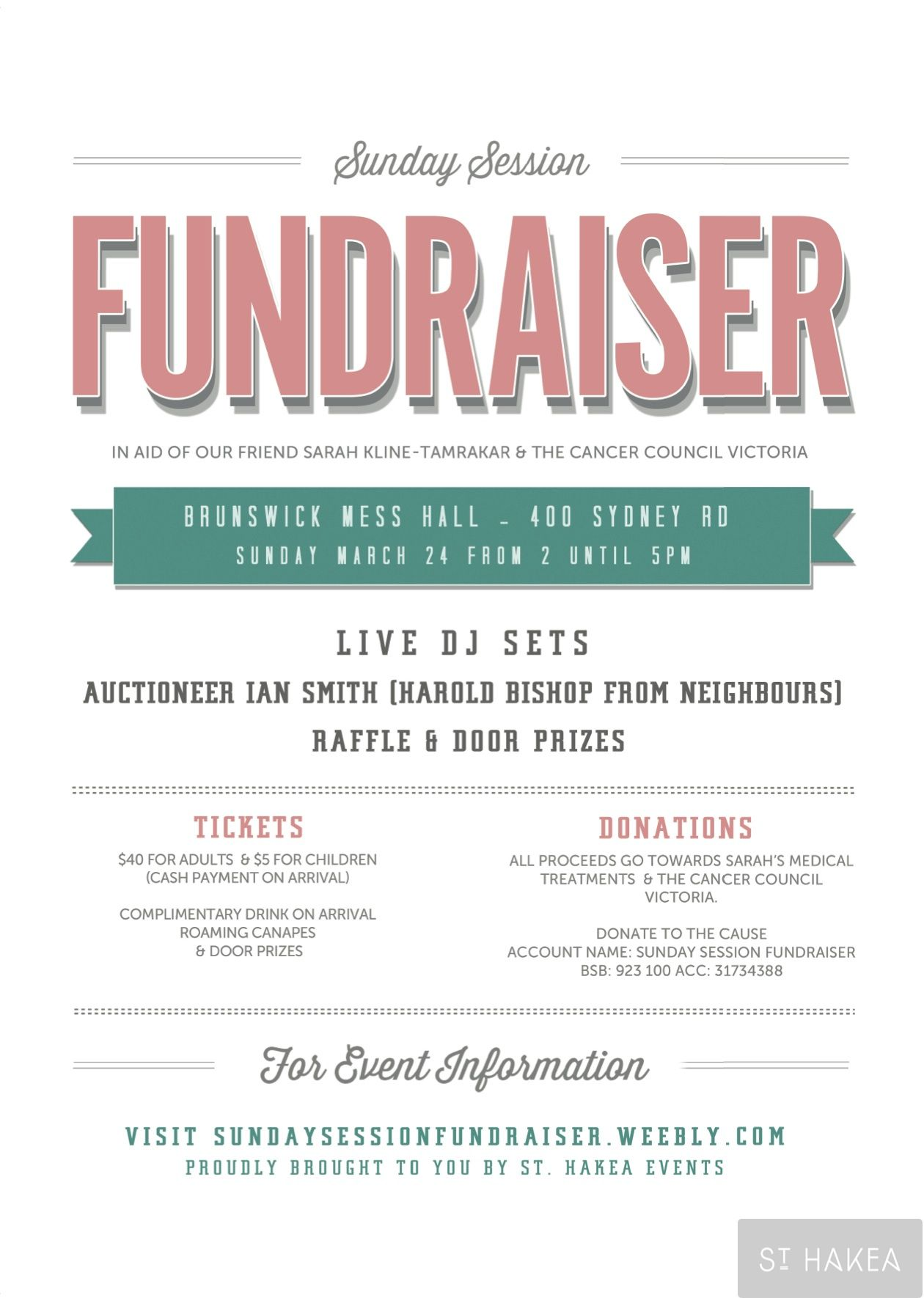 Sunday Session Fundraiser event flyer Proudly bought to you by St Hakea Events sthakeacom