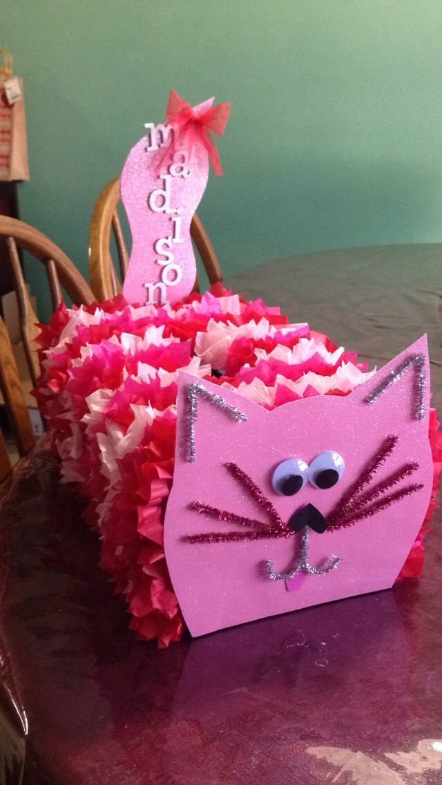 Cat Valentine Card Box Using An Empty Popcorn And Saltine Boxes We Created Fun Cat Card Holders