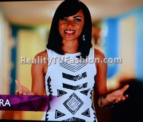 "Tara Wallace's GUESS White & Black Print Dress On ""Love & Hip Hop"