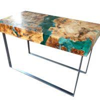 Resin and wood coffee table, welded steel legs. | Resin ...