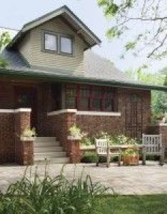 With  new simple porch clad in reclaimed brick the back of house now looks like it was meant to century ago also plymouth bungalow love this small craftsman dream home rh pinterest