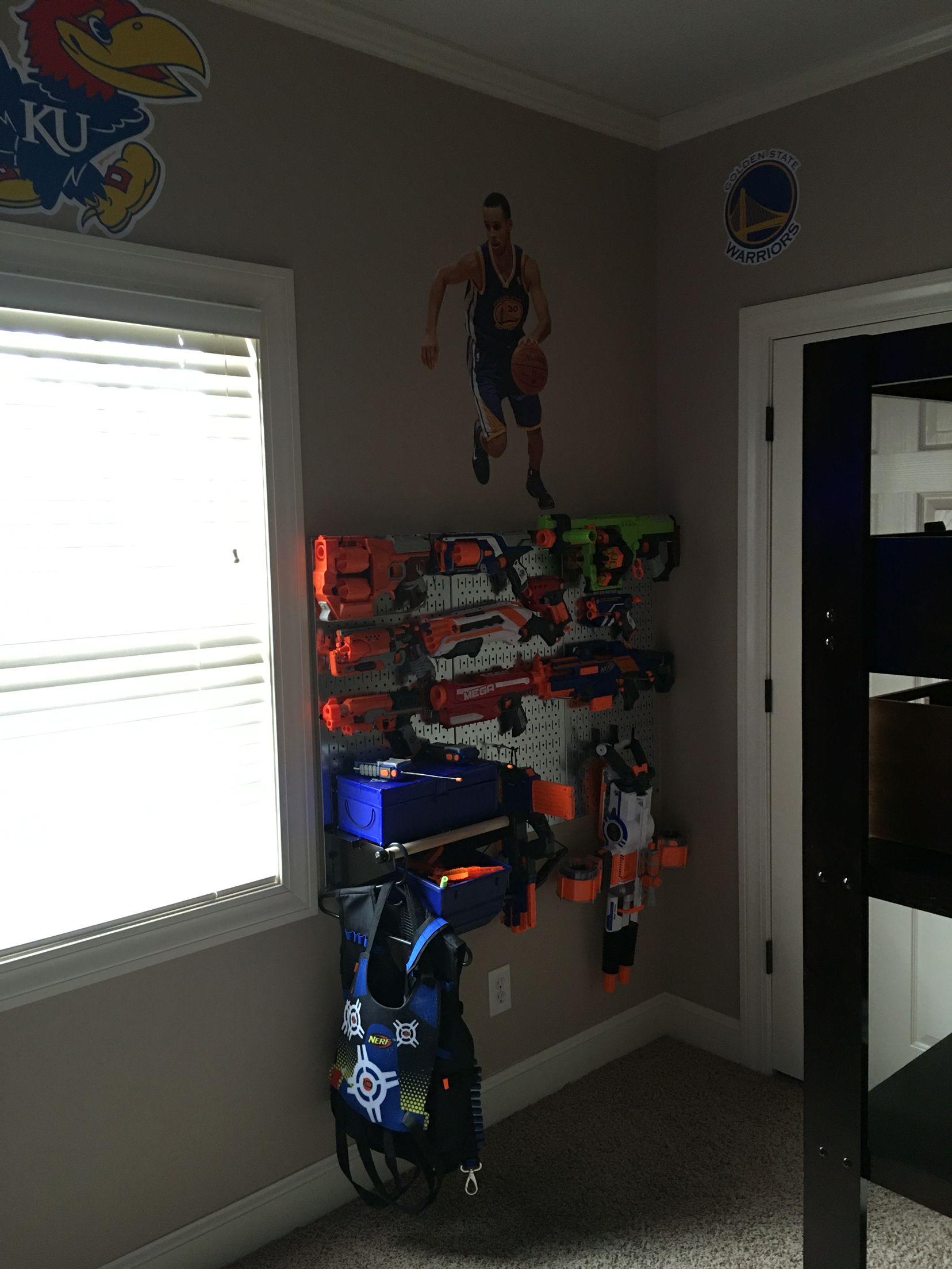 Nerf Gun Storage Metal Pegboard Boys Bedroom Remodel