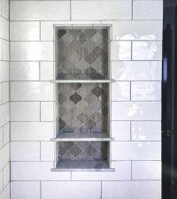Arabesque Tile Shower Shelf Niche White Subway shower Tile ...