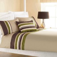Yale Lime Green / Brown Striped Print Duvet Cover | Stripe ...