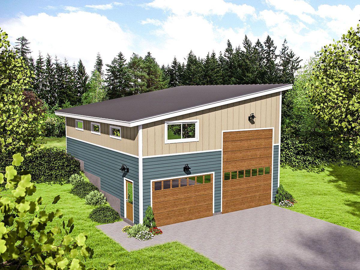 Plan 68491VR RV Garage for an UpSloping Lot  Rv garage