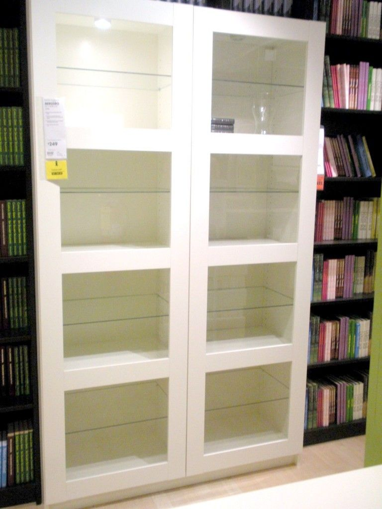glass door bookcase white  Home Decor