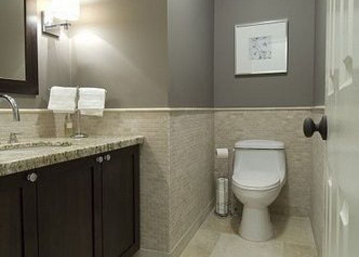 Bathroom design transitional tile ideas with grey wall paint color also beige and floor white modern toilet when is mid way up the  like it