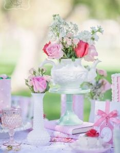 Shabby chic mommy me girl outdoor birthday tea party planning ideas or bridal shower love the teapot elevated on  cake stand also st garden pinterest parties rh