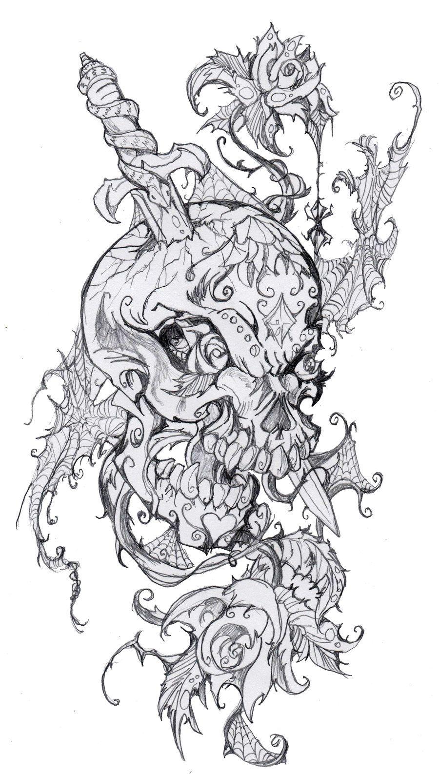 Sugar Skull Tattoo Design by mosttalented-onearth