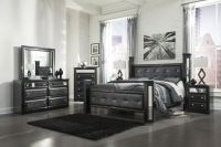 Ashley Alamadyre Queen Upholstered Poster Bedroom Set in ...