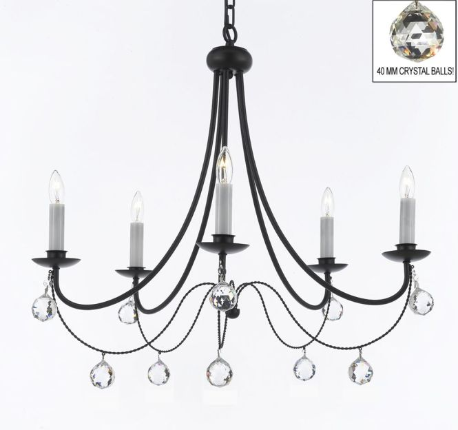 Empress Crystal Tm Wrought Iron Chandelier Lighting X With White Shades And