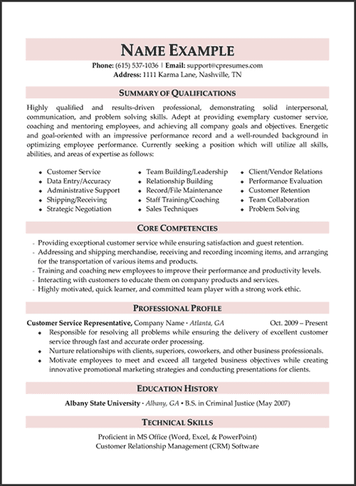 areas of expertise resume examples examples of resumes