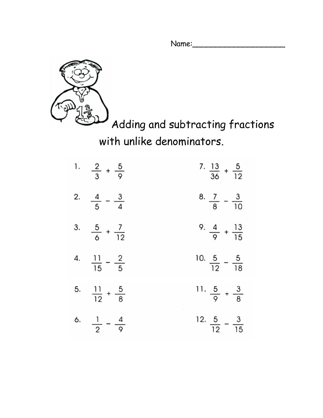 Adding And Subtracting Fractions With Unlike Denominators Activities