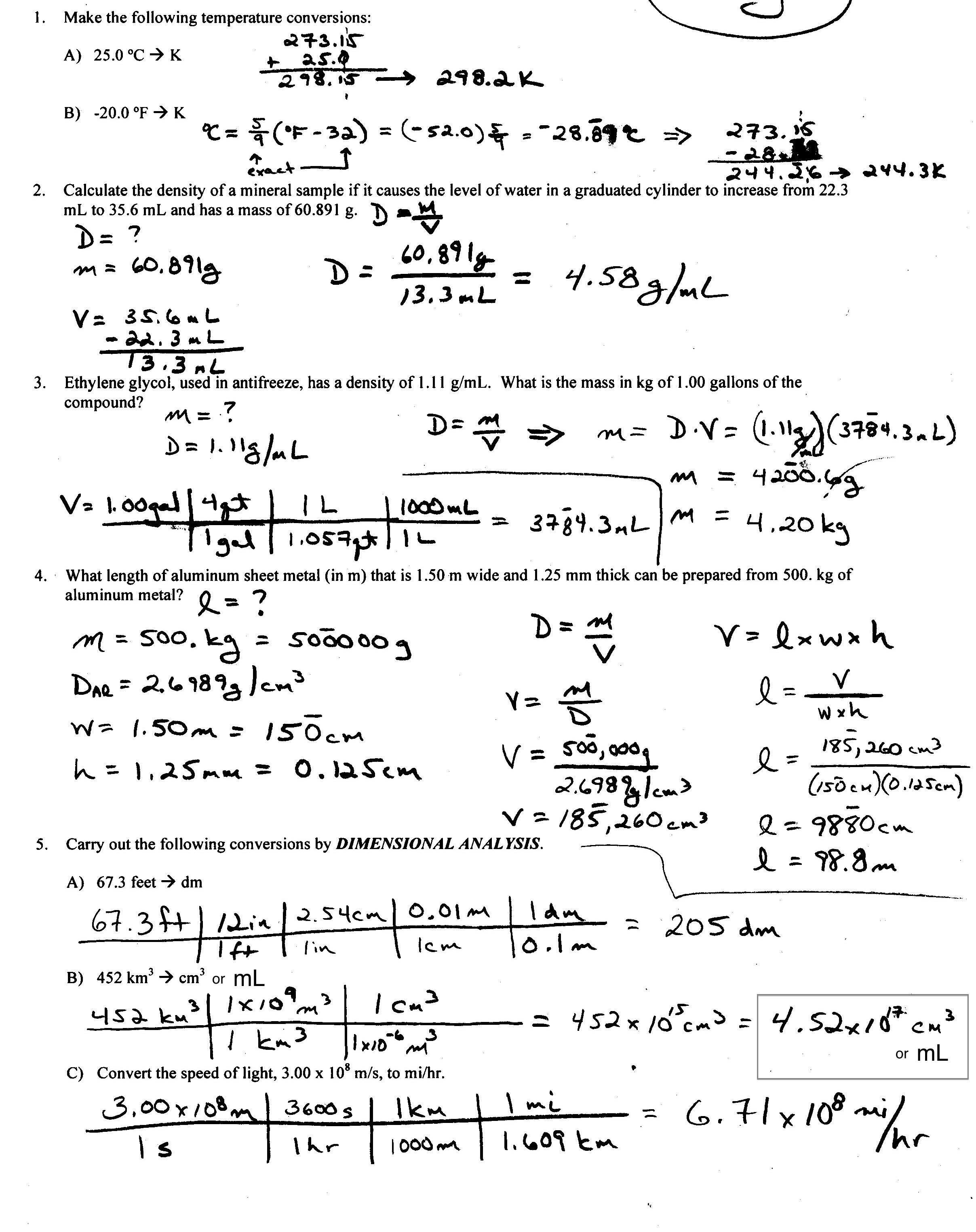 College Calculations Worksheet Word Problems