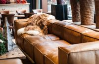 Living room design with cognac brown leather sofa ...