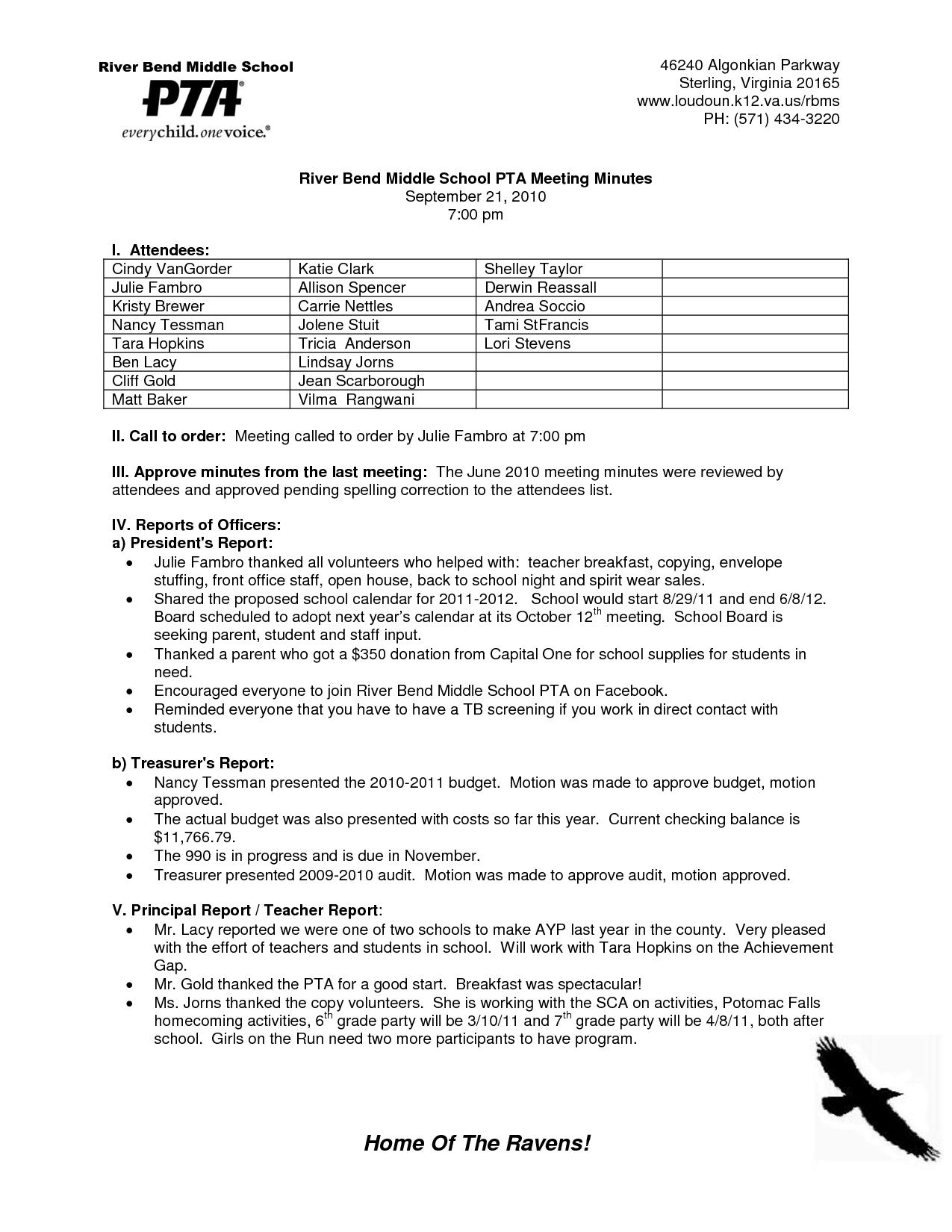 Pta Secretary Minutes Template