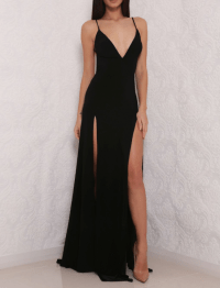 Sexy High Slit Prom Dress, Black Prom Dress, Open Back ...